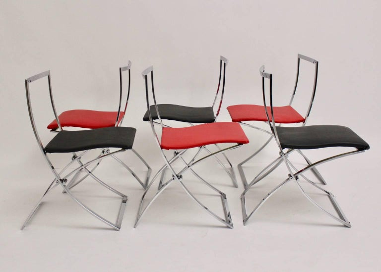 Plated Red and Black Folding Dining Chairs Luisa by Marcello Cuneo, 1970, Italy For Sale