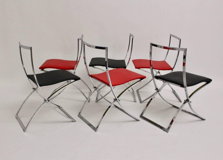 Red and Black Folding Dining Chairs Luisa by Marcello Cuneo, 1970, Italy In Good Condition For Sale In Vienna, AT
