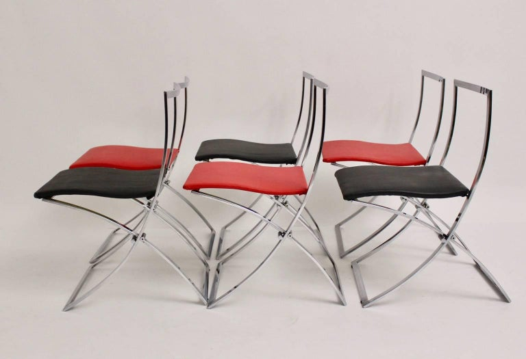 Late 20th Century Red and Black Folding Dining Chairs Luisa by Marcello Cuneo, 1970, Italy For Sale