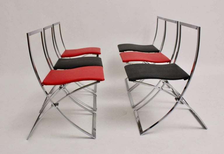 Metal Red and Black Folding Dining Chairs Luisa by Marcello Cuneo, 1970, Italy For Sale