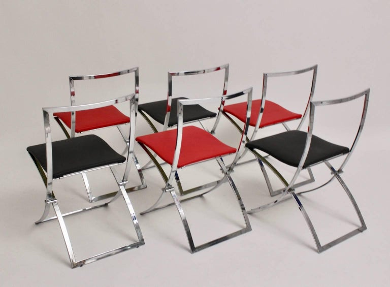 Red and Black Folding Dining Chairs Luisa by Marcello Cuneo, 1970, Italy For Sale 1