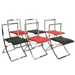 Mid Century Red Black Vintage Folding Dining Chairs Marcello Cuneo, 1970, Italy