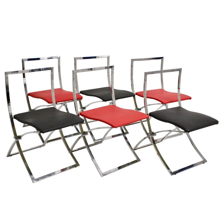 Red and Black Folding Dining Chairs Luisa by Marcello Cuneo, 1970, Italy For Sale