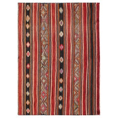 Red and Black Vintage Kilim in Modern Striped Design