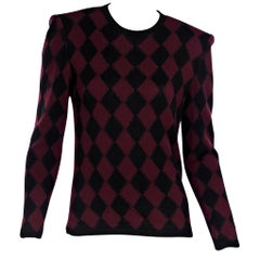 Red And Black Vintage Valentino Harlequin-Knit Sweater