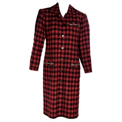 Yves Saint Laurent Red And Black Variation Wool Checkered Jacket