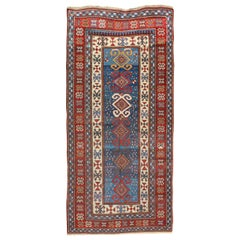 Red and Blue Antique Caucasian Kazak Rug with Vertical Tribal Medallions