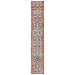 Red and Blue Antique Persian Hamedan Runner with All-Over Geometric Design