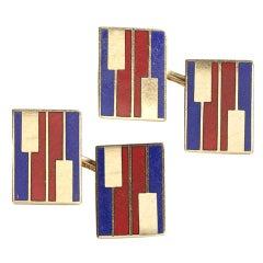 Red and Blue Enamel Gold Cufflinks, circa 1960