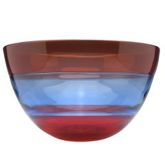 Red and Blue Mike Hunter Triple Incalmo Glass Bowl