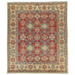 Red and Blue Traditional Wool Area Rug