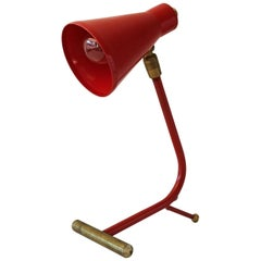 Red and Brass Italian Desk Lamp, 1950s