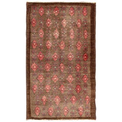 Red and Brown Vintage Turkish Oushak Rug with Repeating Vertical Motif Design