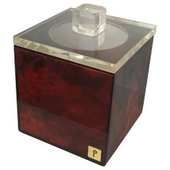 Red and Clear Lucite Ice Bucket, Signed P. French, Circa 1970
