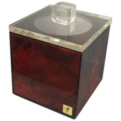 Red and Clear Lucite Ice Bucket, Signed P, French, circa 1970