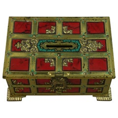 Klann Red and Gold Banded Tin Box/Bank Western Germany 1970