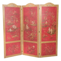 Red and Gold Chinoiserie Three Panel Screen