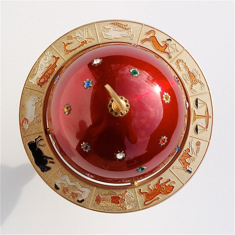 Mid-Century Modern Red and Gold Colored Novelty Zodiac Globe Cigarette Holder, 1960s For Sale