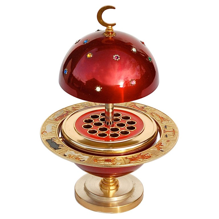 Red and Gold Colored Novelty Zodiac Globe Cigarette Holder, 1960s For Sale