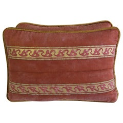 Red and Gold Fortuny Pillows, Pair