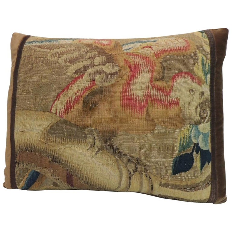 Red and Gold French Antique Aubusson Tapestry Decorative Pillow For Sale