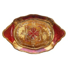 Red and Gold Italian Florentine Toleware Giltwood Tray