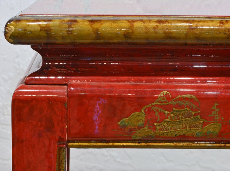 Red and Gold Lacquer Mid Century Chinoiserie Ming Style Console Table 4