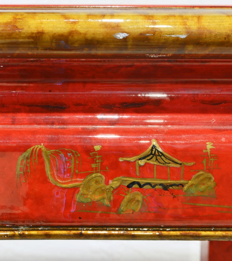 Red and Gold Lacquer Mid Century Chinoiserie Ming Style Console Table 5