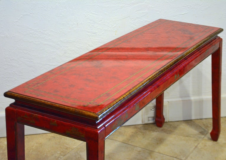 Red and Gold Lacquer Mid Century Chinoiserie Ming Style Console Table 7