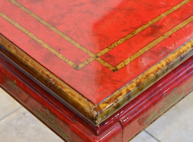 Red and Gold Lacquer Mid Century Chinoiserie Ming Style Console Table 8