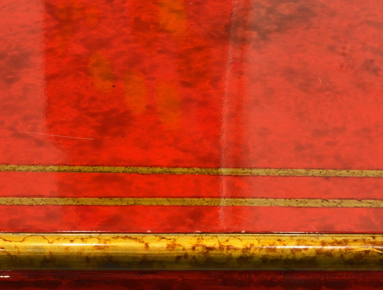 Red and Gold Lacquer Mid Century Chinoiserie Ming Style Console Table 9