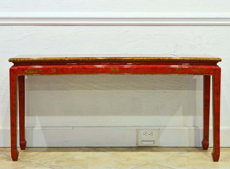 American Red and Gold Lacquer Mid Century Chinoiserie Ming Style Console Table