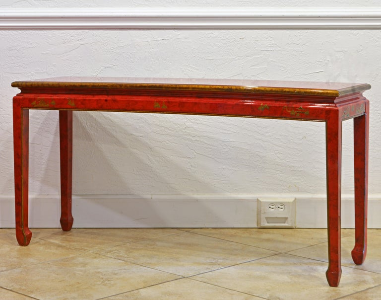 Red and Gold Lacquer Mid Century Chinoiserie Ming Style Console Table In Good Condition In Ft. Lauderdale, FL