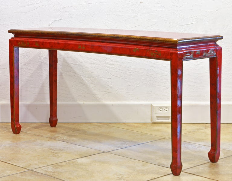 20th Century Red and Gold Lacquer Mid Century Chinoiserie Ming Style Console Table