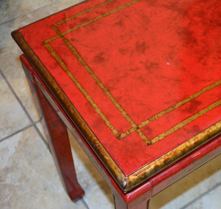 Wood Red and Gold Lacquer Mid Century Chinoiserie Ming Style Console Table