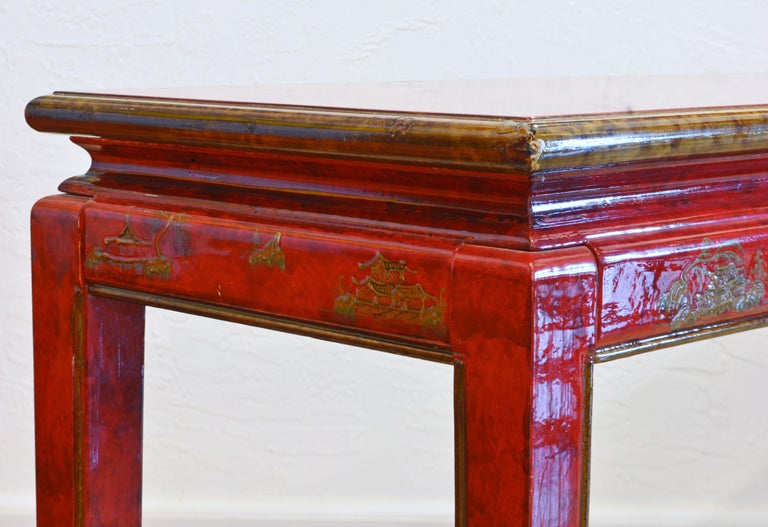 Red and Gold Lacquer Mid Century Chinoiserie Ming Style Console Table 1