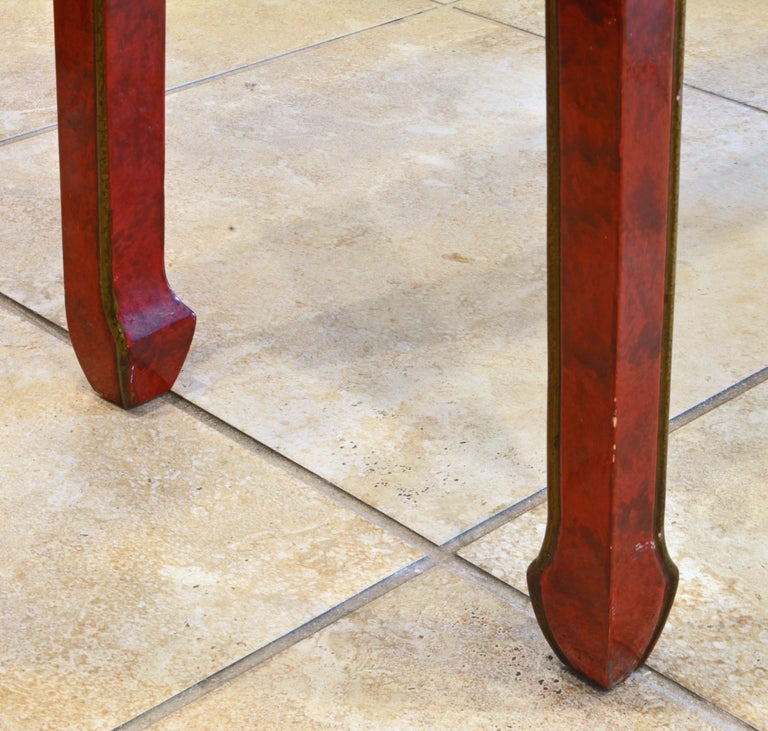 Red and Gold Lacquer Mid Century Chinoiserie Ming Style Console Table 2