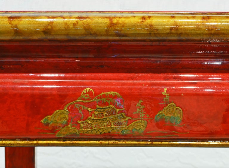 Red and Gold Lacquer Mid Century Chinoiserie Ming Style Console Table 3
