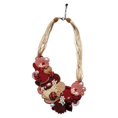 Red and gold Murano glass beads costume necklace by Venetian artist Paola B.