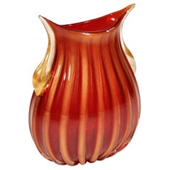 Red and Gold Murano Glass Vase by Pino Signoretto
