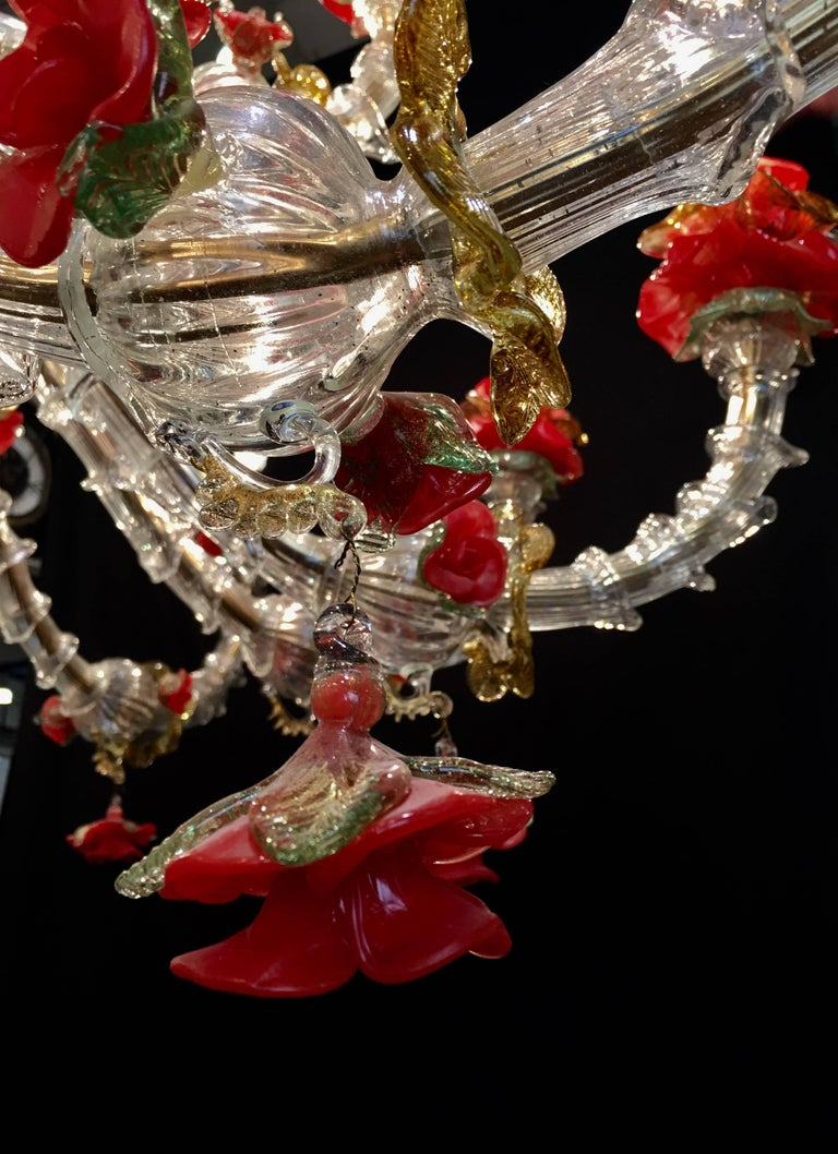 Red and Gold Sumptuous Murano Glass Chandelier, 1980s For Sale 5