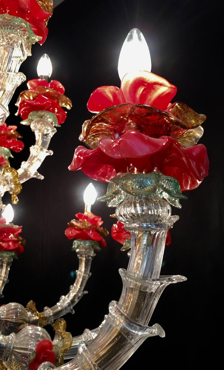 Red and Gold Sumptuous Murano Glass Chandelier, 1980s For Sale 7