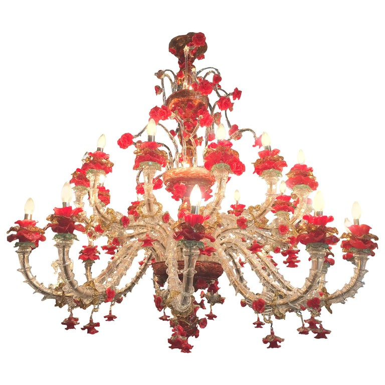 Red and Gold Sumptuous Murano Glass Chandelier, 1980s For Sale 9
