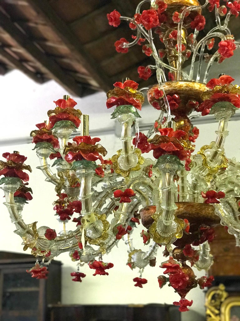 Red and Gold Sumptuous Murano Glass Chandelier, 1980s For Sale 10
