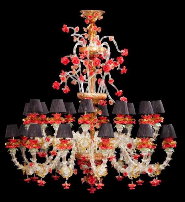 Red and Gold Sumptuous Murano Glass Chandelier, 1980s For Sale 11
