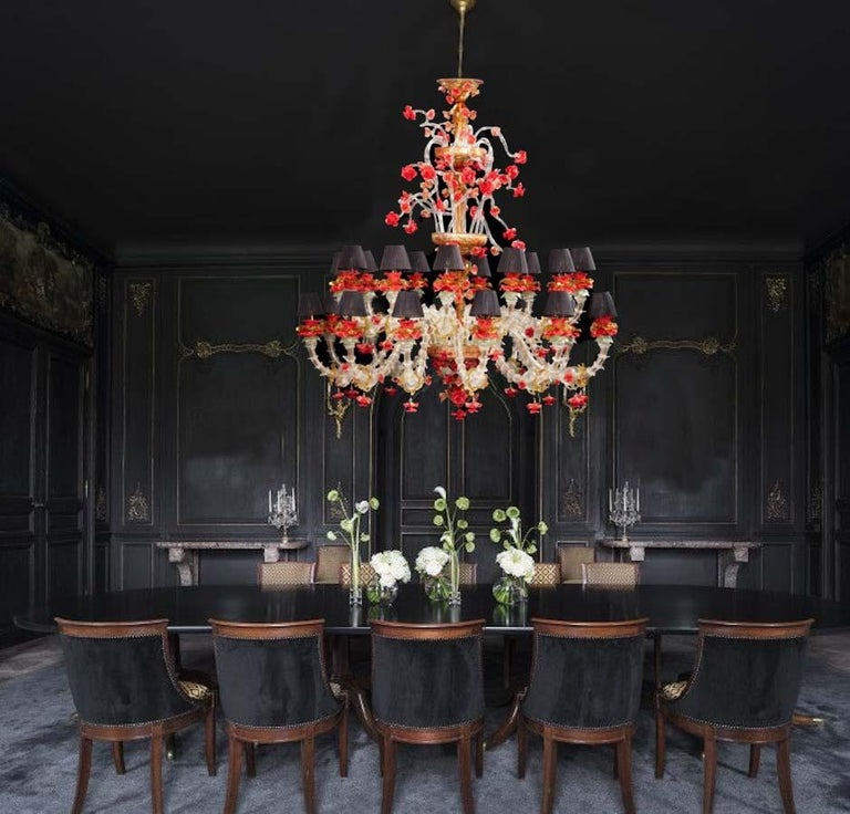 Late 20th Century Red and Gold Sumptuous Murano Glass Chandelier, 1980s For Sale