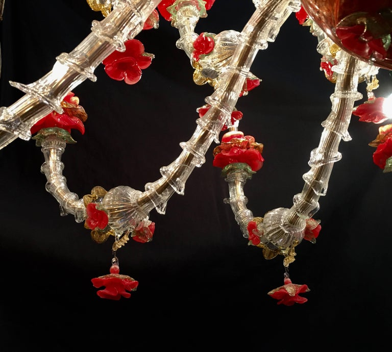 Red and Gold Sumptuous Murano Glass Chandelier, 1980s For Sale 4