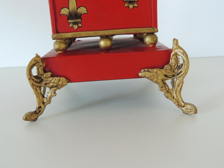 Regency Red and Gold Tall Cachepot with Fleur-de-Lis Design For Sale