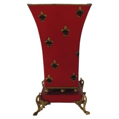 Red and Gold Tall Cachepot with Fleur-de-Lis Design