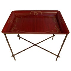 Red and Gold Tray Top Side Table with Gilt Bamboo Base